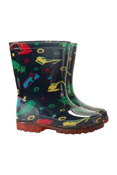 ab92b484ba Mountain Warehouse Splash Junior Kids Flashing Lights Wellies -Durable  Childrens Wellington Boots, Light Up Soles Shoes, Easy Clean Summer Walking  ...