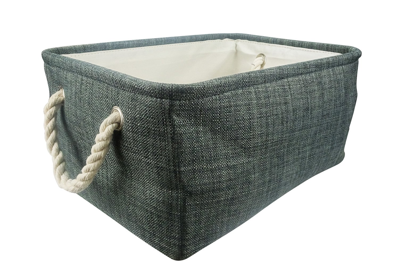 Lanscoe 14 Inch Medium Storage Baskets Foldable Bin Canvas Storage for Toys Kids Pets Laundry Sturdy Lightweight Dark Grey