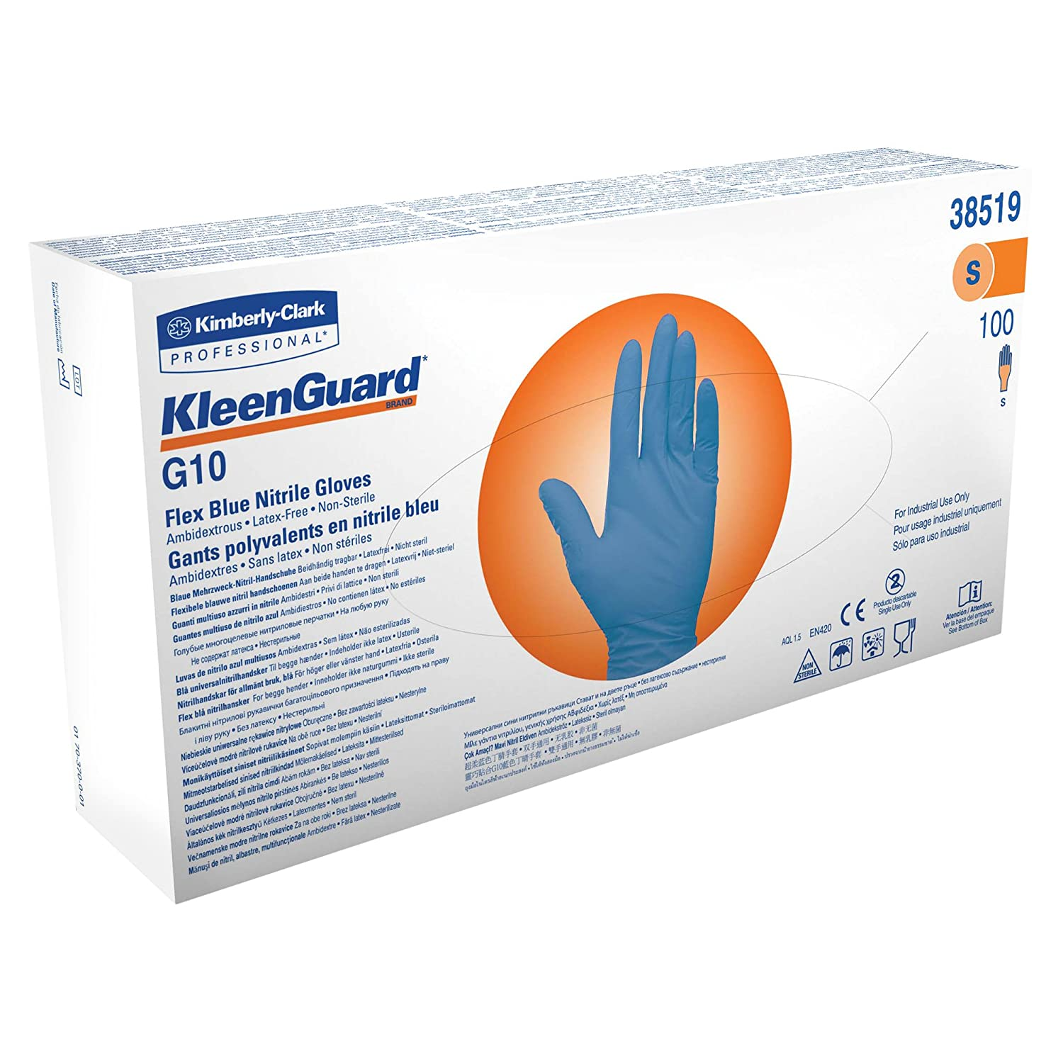"Kleenguard G10 Flex Blue Nitrile Gloves (38519), Small, Powder-Free, 2 Mil,  9.5"", Food Handling, Ambidextrous, Thin Mil, 100 Gloves / Box: Disposable  Safety ..."