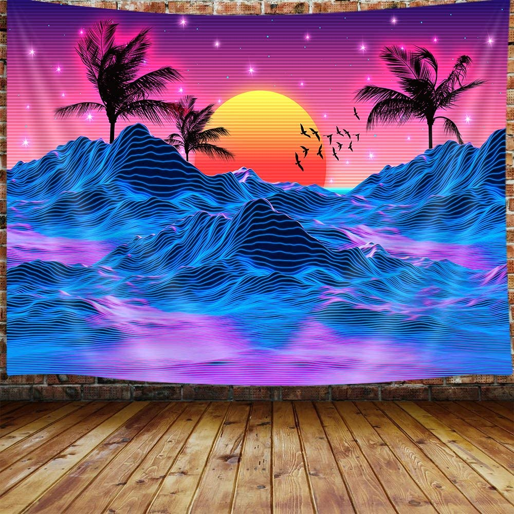 JAWO Retro Neon Trippy Small Tapestry for Men, Cool Mountain Sun 70s 80s Room Decor Aesthetic Art Tapestry Wall Hanging for Bedroom, Vaporwave Tapestries College Dorm Beach Blanket (60W X 40H)