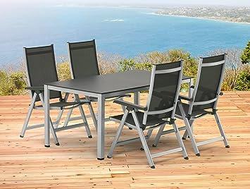 Kettler Bâle Meubles de Jardin 1 Table 140 cm et 4 Chaise Pliante en ...