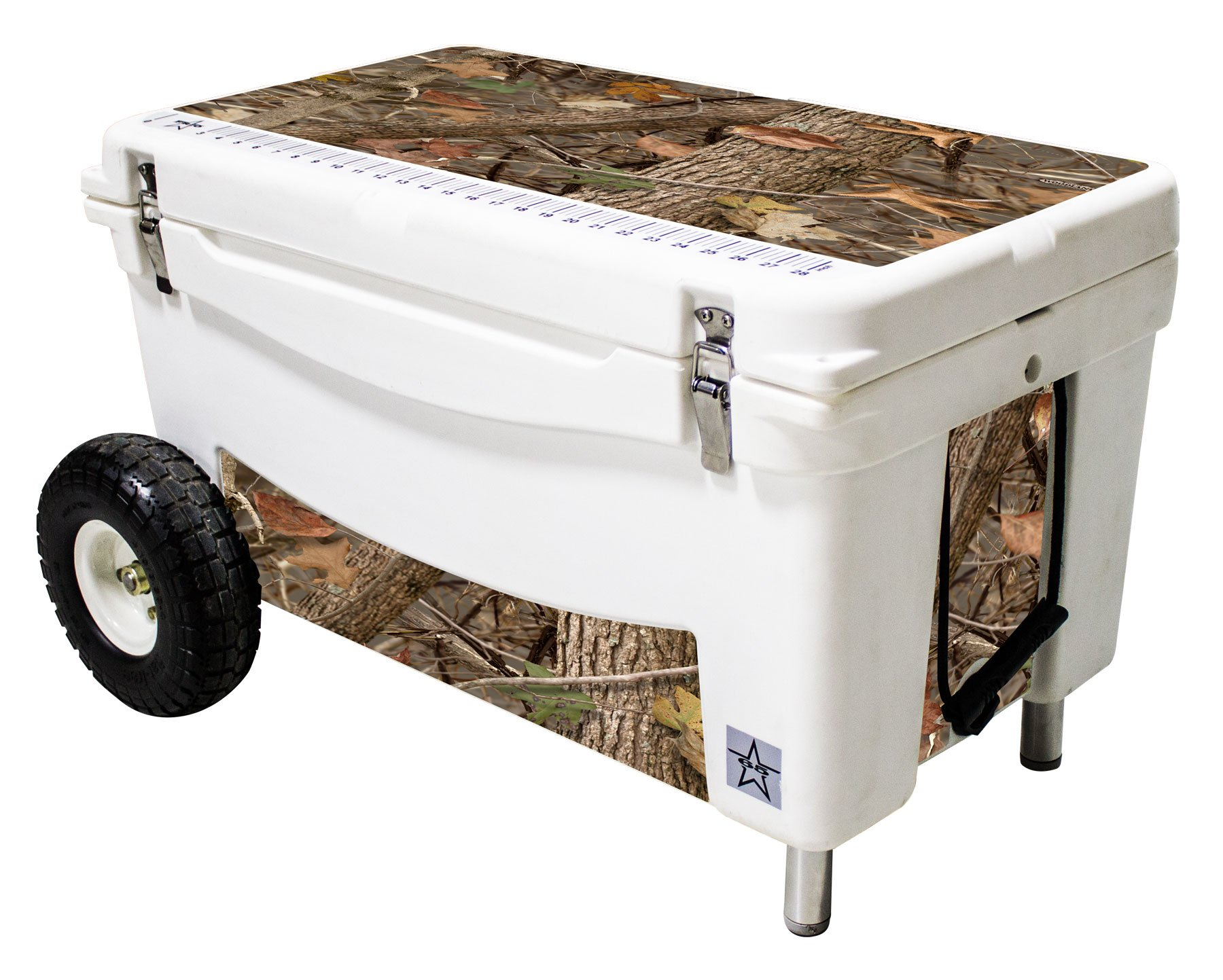 Frio Ice Chests 65Qt Extreme Wheeled White Hard Side with King's Camo Woodland Theme Vinyl Wrap and Built-In Motion Sensitive Light Bar with Bottle Openers by Frio Ice Chests