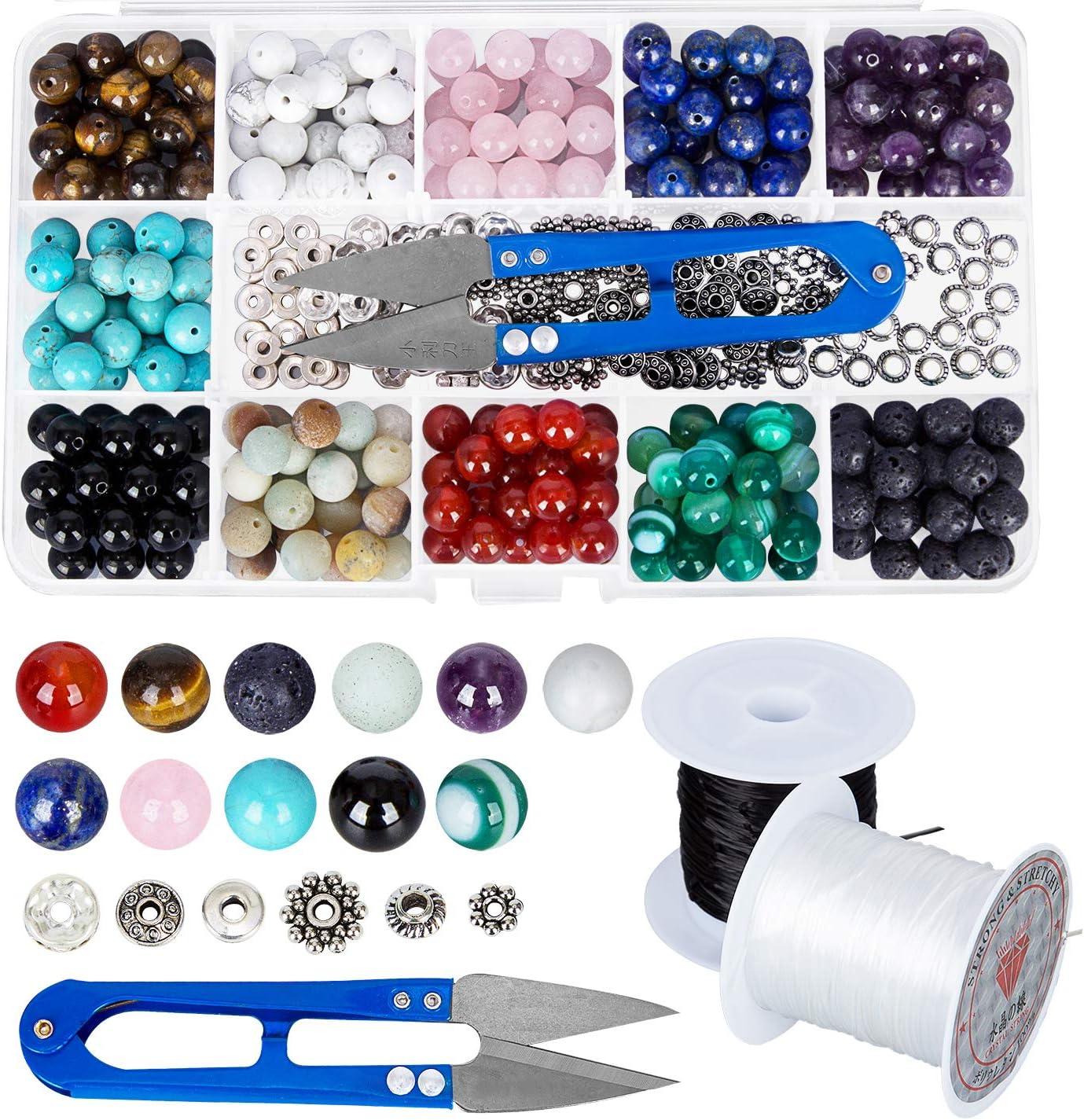 Kits de cajas de cuentas de piedra 264 piezas 8 mm redondo suelto Gemstone Natural Amatista Lave piedra Amazonlite varios colores con accesorios herramientas para hacer joyas de pulsera