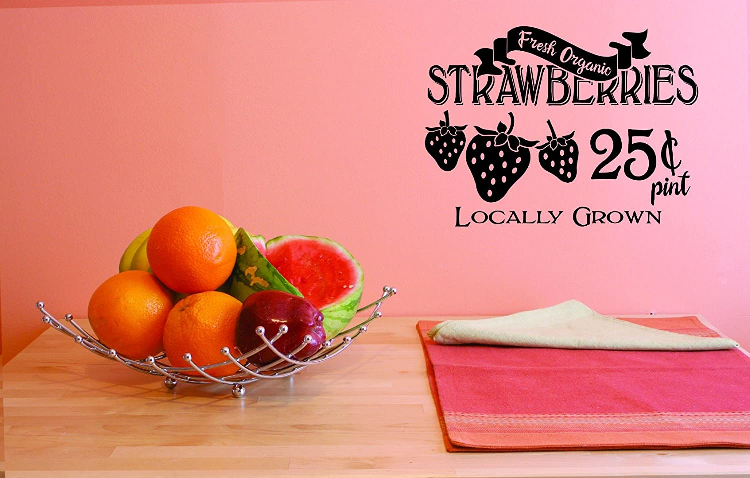 Design with Vinyl JER 1769 1 1 Hot New Decals Fresh Organic Strawberries 25 Cents Pint Locally Grown Wall Art Size 10 inches x 20 inches Color 10 x 20 Black