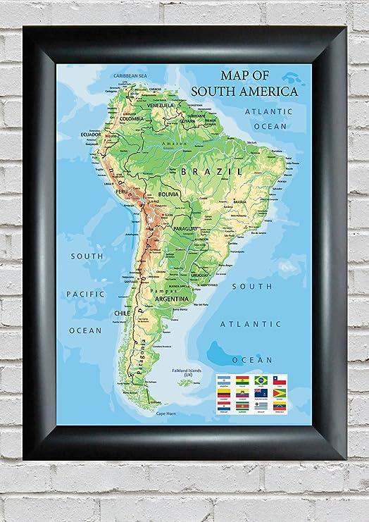 Mapa de América del Sur con banderas de todos los países y las ...