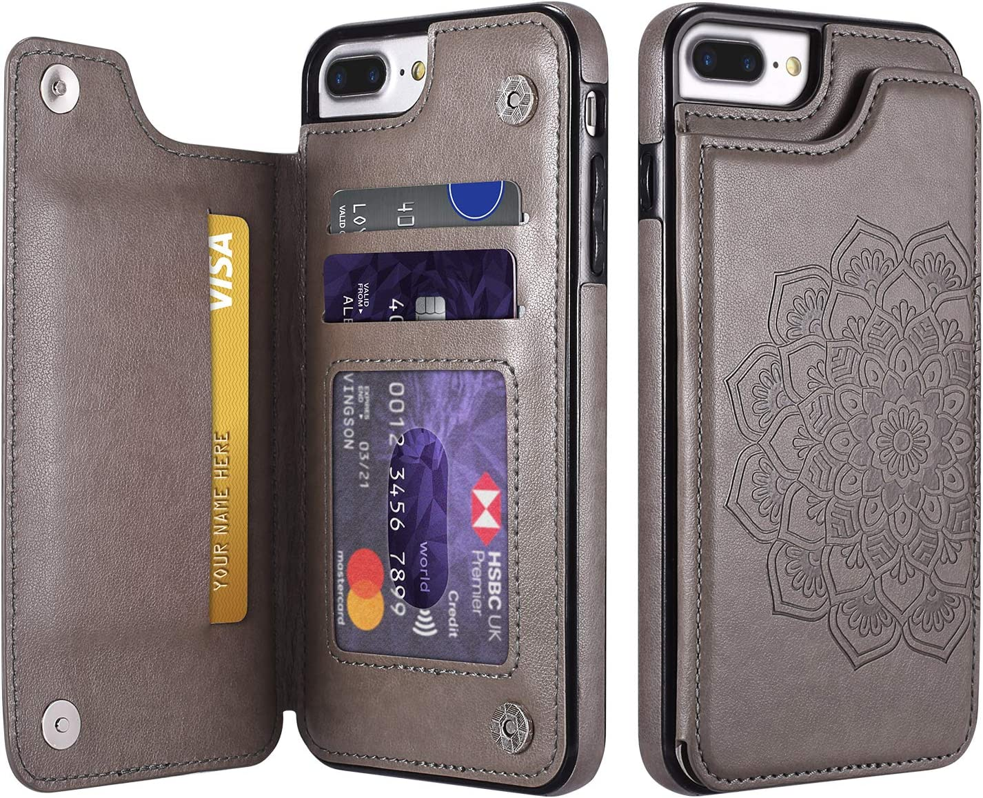 UEEBAI Case for iPhone SE 2020 iPhone 7 iPhone 8, PU Leather Case [Two Magnetic Clasp] [Card Slots] Stand Function Embossed Mandala Pattern Half Flower Durable Soft TPU Back Wallet Cover - Grey#2