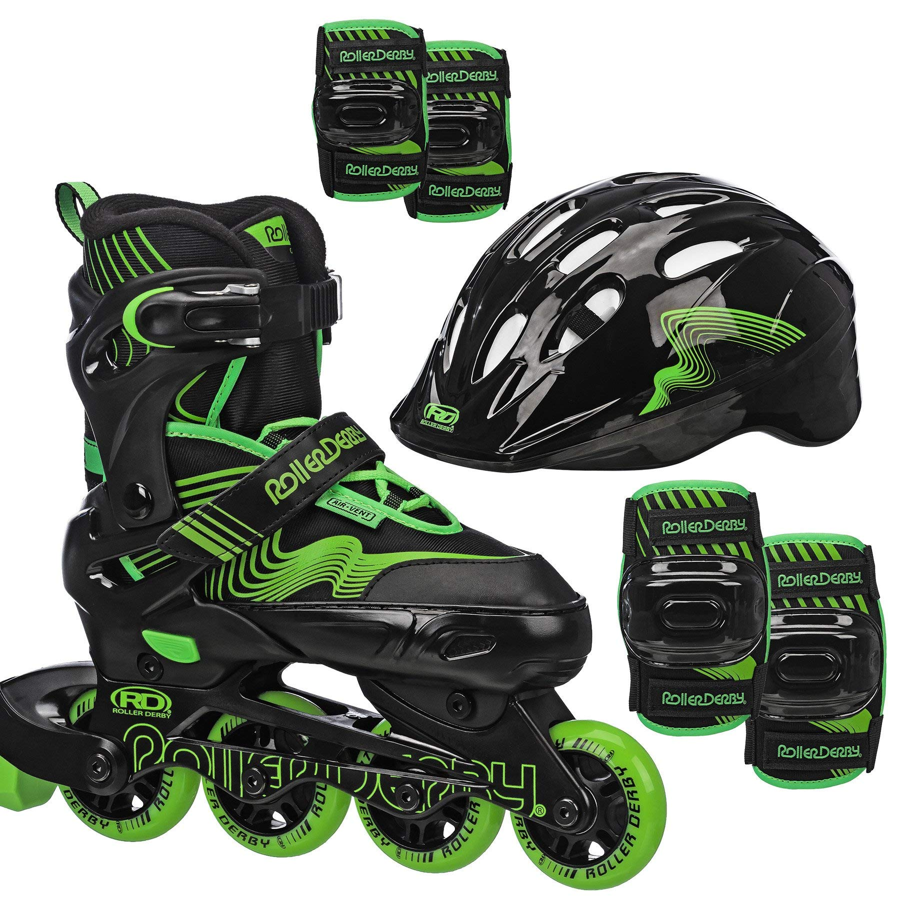 Roller Derby Carver Boys Inline Skates and Protective Pack (Helmet, Elbow Pads, Knee Pads) (Renewed)