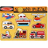 Melissa & Doug Vehicles Sound Puzzle - Wooden Peg Puzzle With Sound Effects (8 pcs)