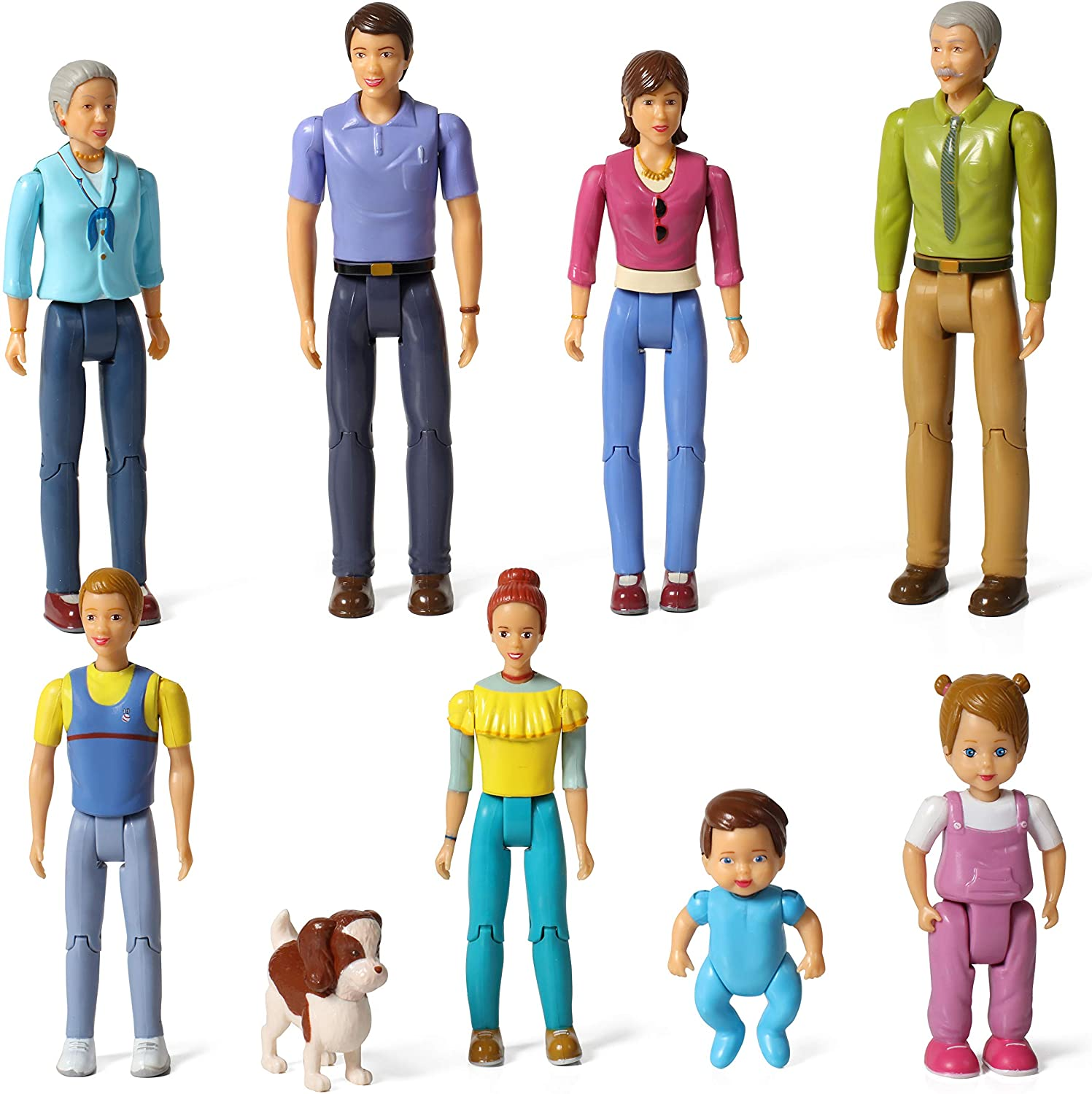 Beverly Hills Doll Collection Sweet Lil Family Friends Figures- New Addition Set of 9 Dollhouse People - Grandma, Grandpa, Mom, Dad, Sister, Brother, Toddler, Baby and Dog