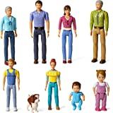 Beverly Hills Doll Collection Sweet Lil Family Friends Figures- New Addition Set of 9 Dollhouse People - Grandma, Grandpa, Mo