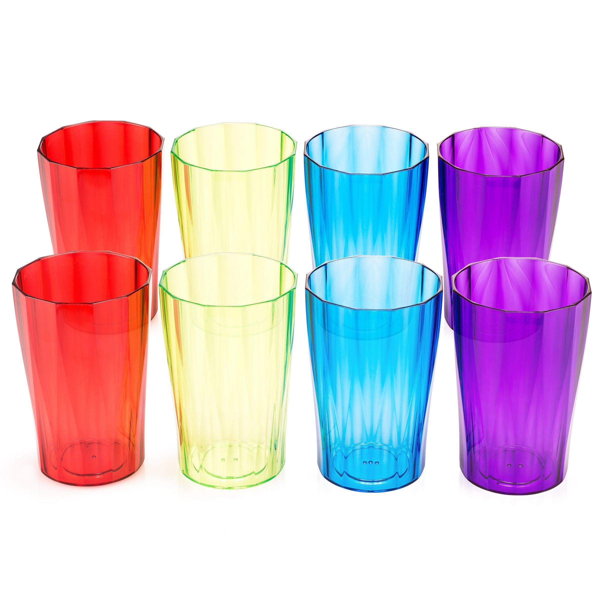 Plastic Glasses Set by Spogears. Plastic Drinking Glasses Set Includes 8 Plastic Tumblers. Looks Like Real Crystal Glasses, Unbreakable Glasses, Dishwasher Safe, BPA Free, Elegant Design.