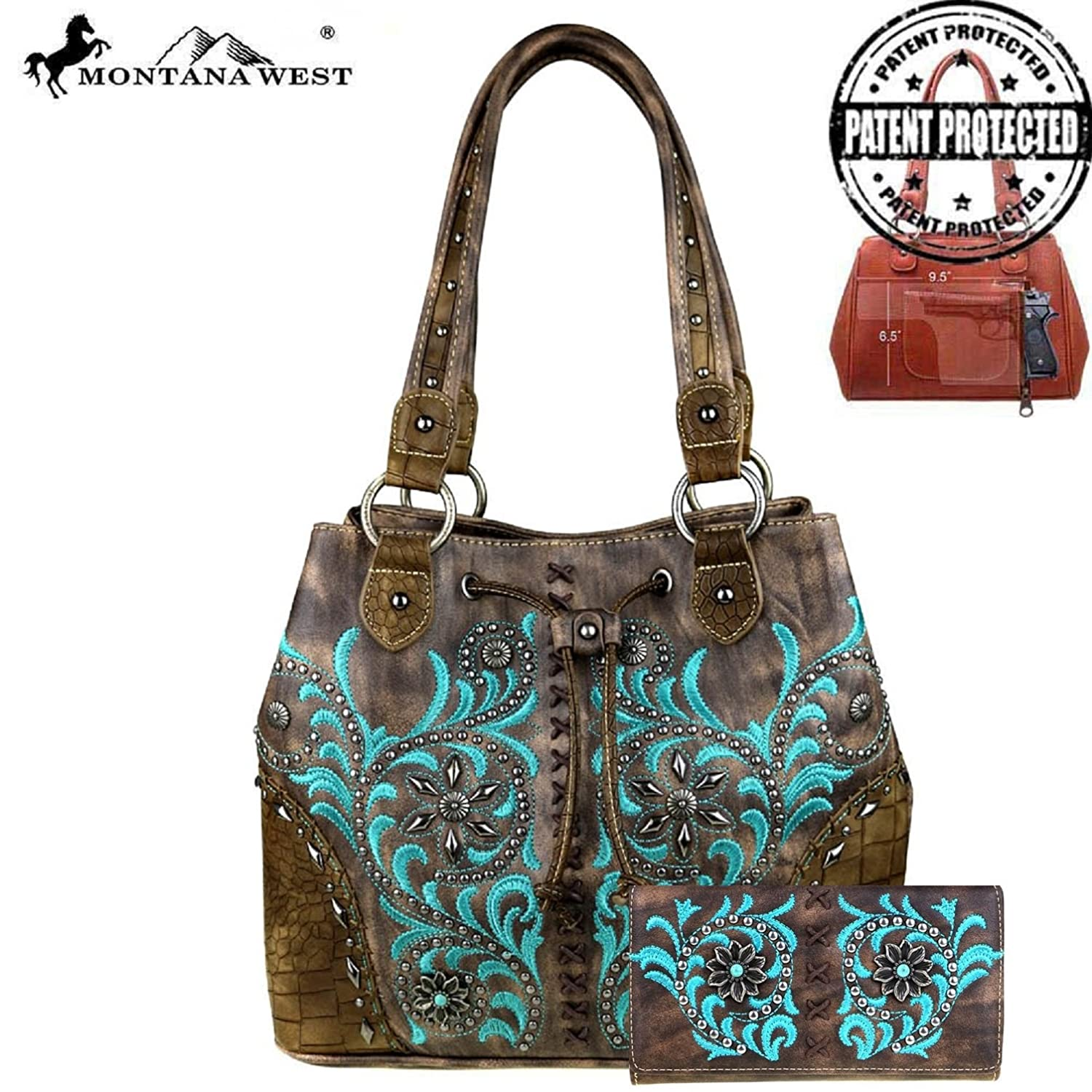 Montana West Leather geometric stitch Concho Collection Gun Conceal Handbag Set
