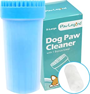 Upgrade 2 in1 Dog Paw Cleaner & Pet Grooming Brush - Portable Pet Paw Cleaner with Towel,Soft Silicone Dog Foot Washer for Dog Cat Grooming with Muddy Paws