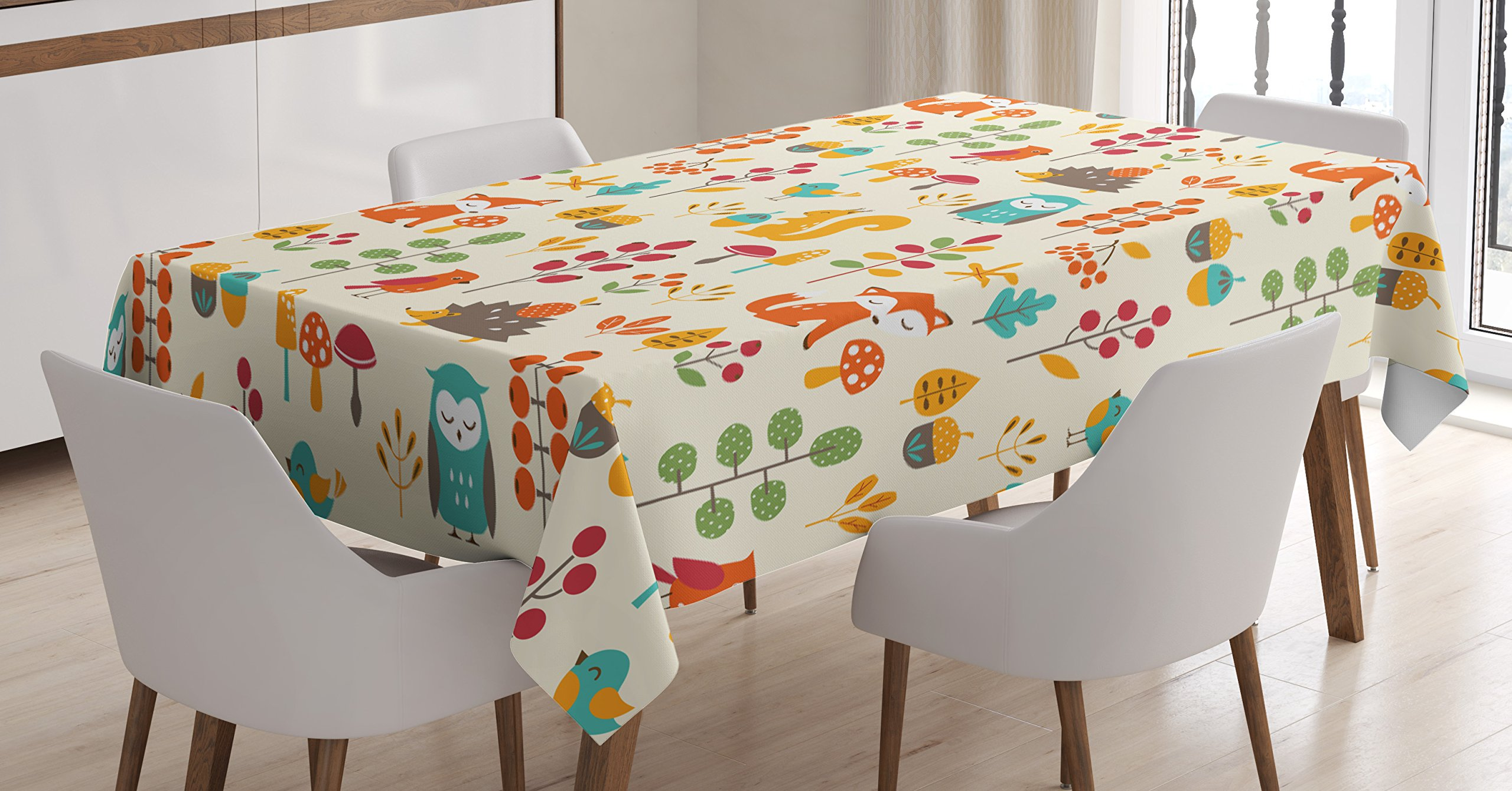 Ambesonne Children Tablecloth, Cute Kids Autumn Pattern with Owl Fox Squirrel Birds Animal Leaves Artsy Print, Dining Room Kitchen Rectangular Table Cover, 60 W X 84 L inches, Multicolor
