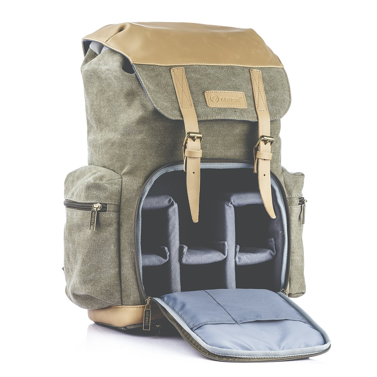 TARION M-02 Canvas Camera Backpack Water-Repellent Camera Bag for DSLR SLR Mirrorless Cameras & Accessories - Colour Green by TARION (Image #3)