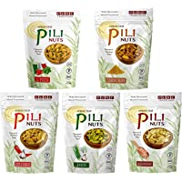 Sprouted PILI Nuts, 5 Flavor Savory Variety Pack, Certified Keto and Paleo, 1.7 oz Each.