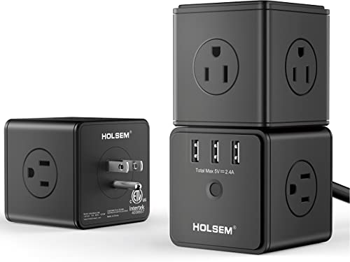 HOLSEM Power Cube Surge Protector 14 AC outlets, 3 Smart USB Ports 5V 2.4A and 6 Heavy Duty Extension Cord, Black 3 Pack