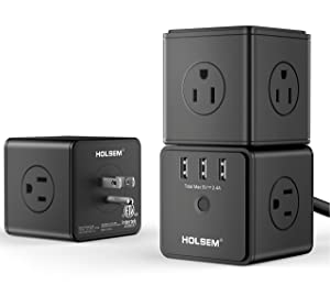 HOLSEM Power Cube Surge Protector 14 AC outlets, 3 Smart USB Ports (5V/2.4A) and 6' Heavy Duty Extension Cord, Black (3 Pack)