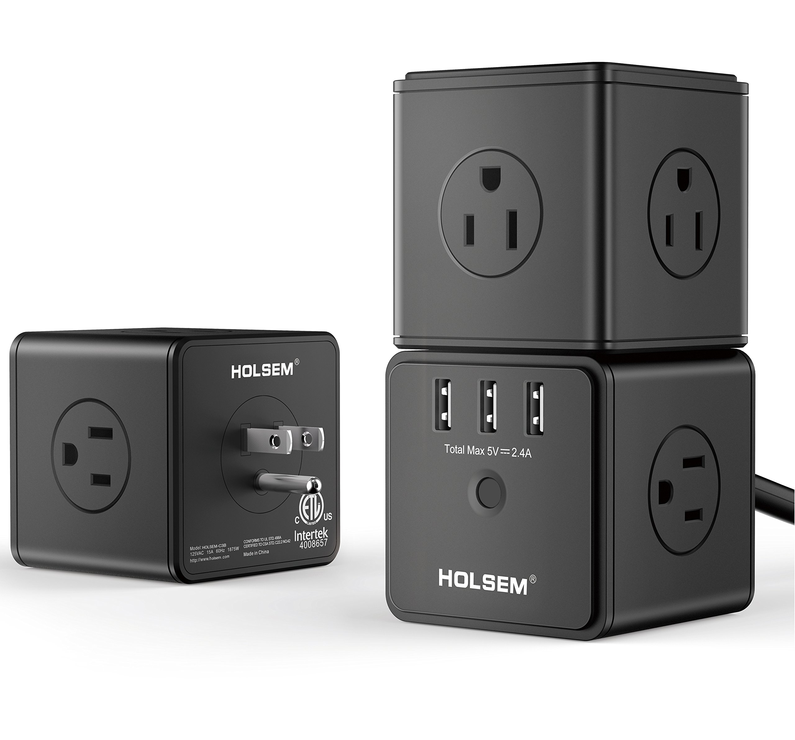 HOLSEM Power Cube Surge Protector 14 AC outlets, 3 Smart USB Ports (5V/2.4A) 6' Heavy Duty Extension Cord, Black (3 pack) by HOLSEM