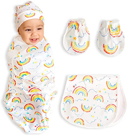 Newborn Swaddle Sack with Baby Hat Set Sleeping Sack Soft Stretchy Sleeping Bag