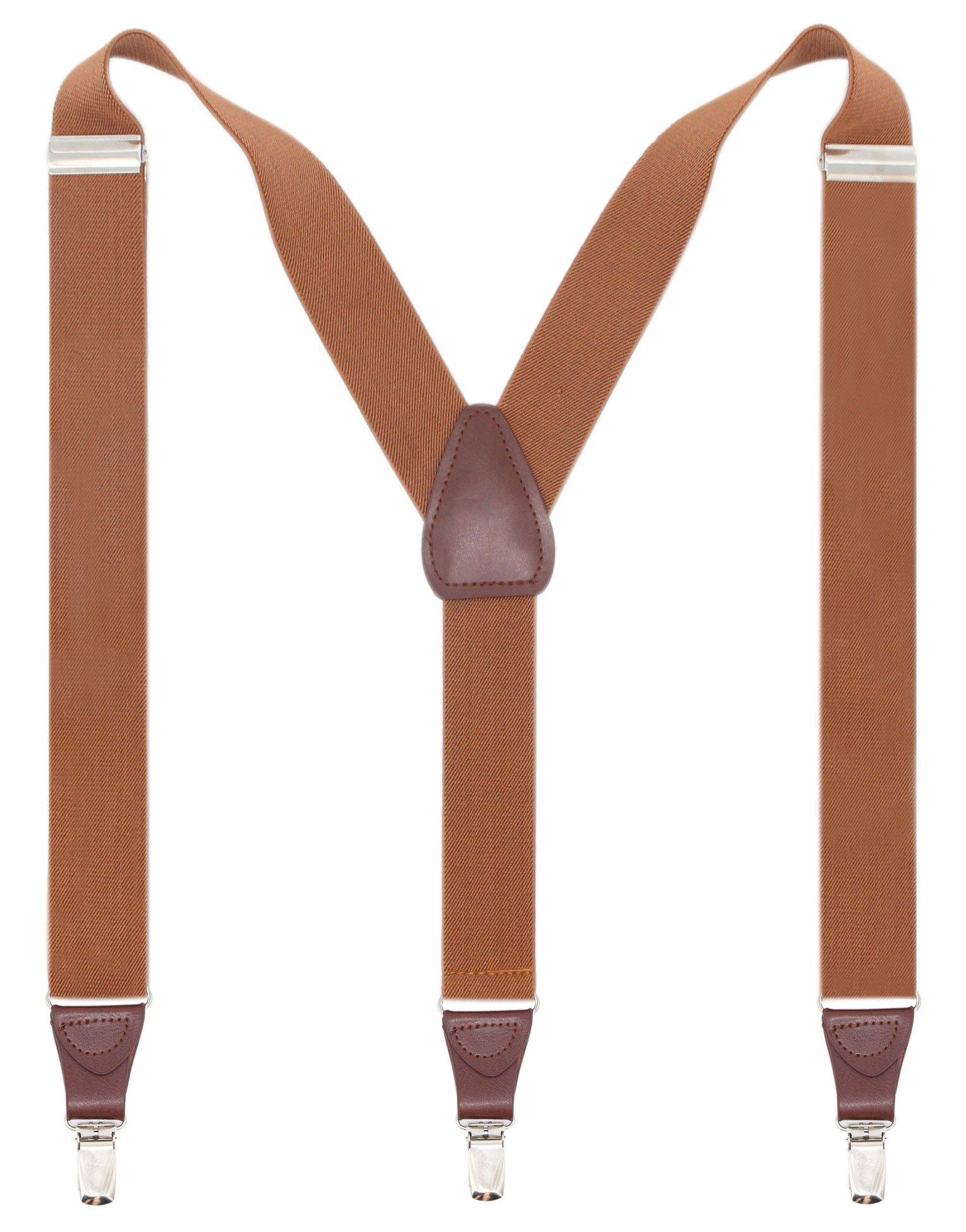 Bioterti Men's Y-shape 1.4 Inch Suspender -3 Metal Clips, Elastic Straps (Camel)