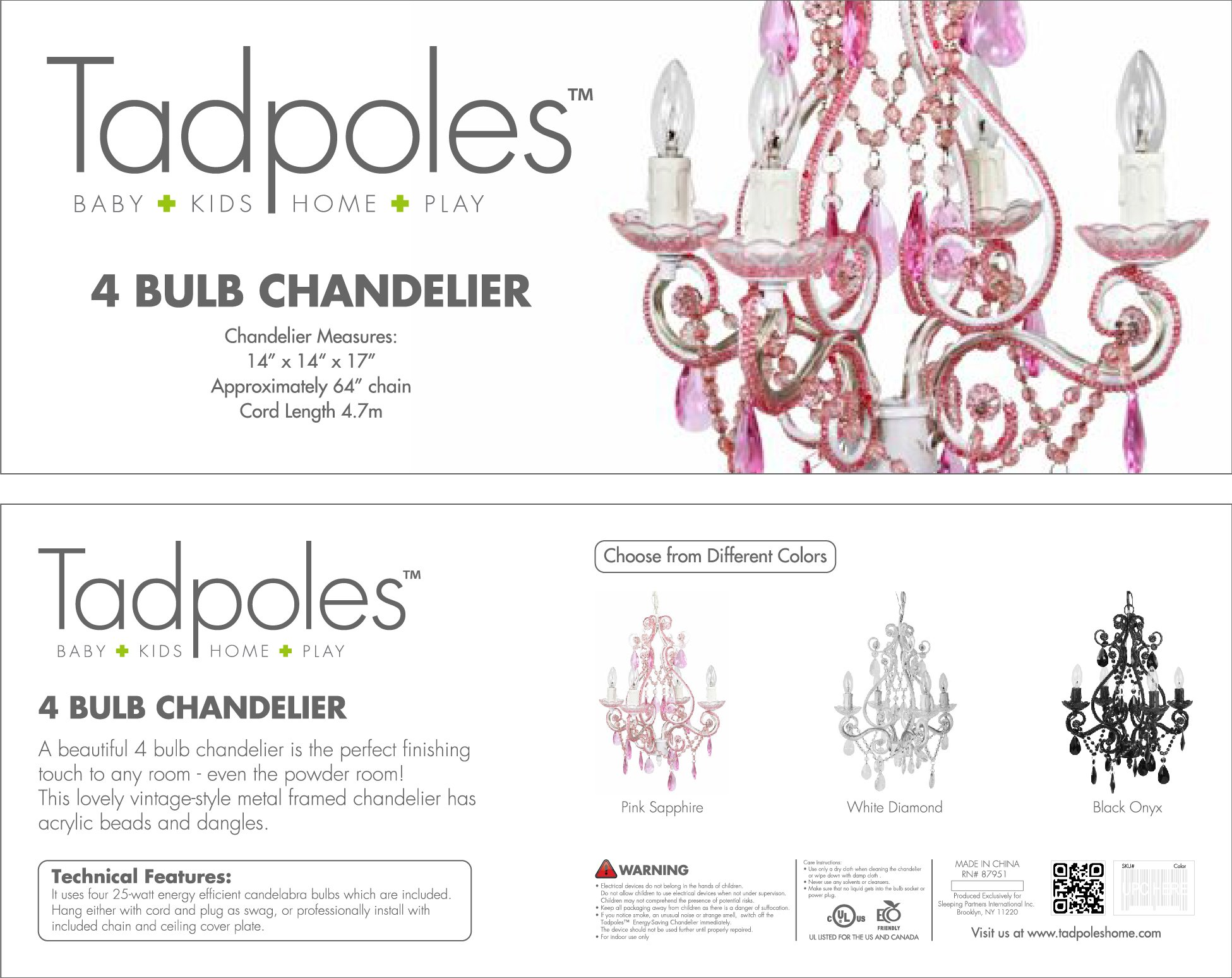 Tadpoles 4-Bulb Vintage Plug-In or Hardwired Mini-Chandelier, White Diamond by Tadpoles (Image #4)