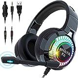Fone de ouvido Nivava para jogos para PS4, Xbox One, fone de ouvido PC com microfone com luz LED para computador Nintendo Swi