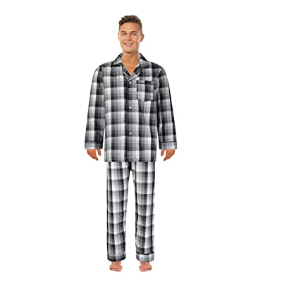 Bill Baileys Men's Long Woven Pajamas Set Top and Bottom Button Front Down Long Sleeve Pajama at Amazon Men's Clothing store