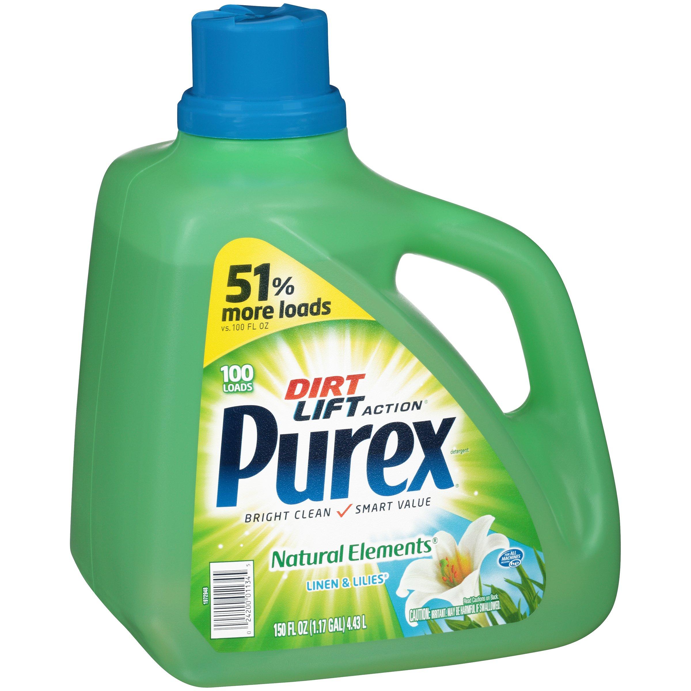 Purex Liquid Laundry Detergent, Natural Elements Linen & Lilies, 150 oz (100 loads)