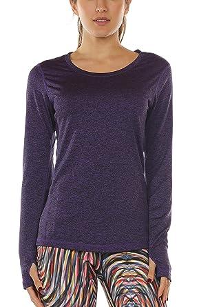 icyzone Damen Laufshirt Langarm T-Shirts atmungsaktive Funktionsshirt für Sport  Fitness (Purple, S 51688d1ac7