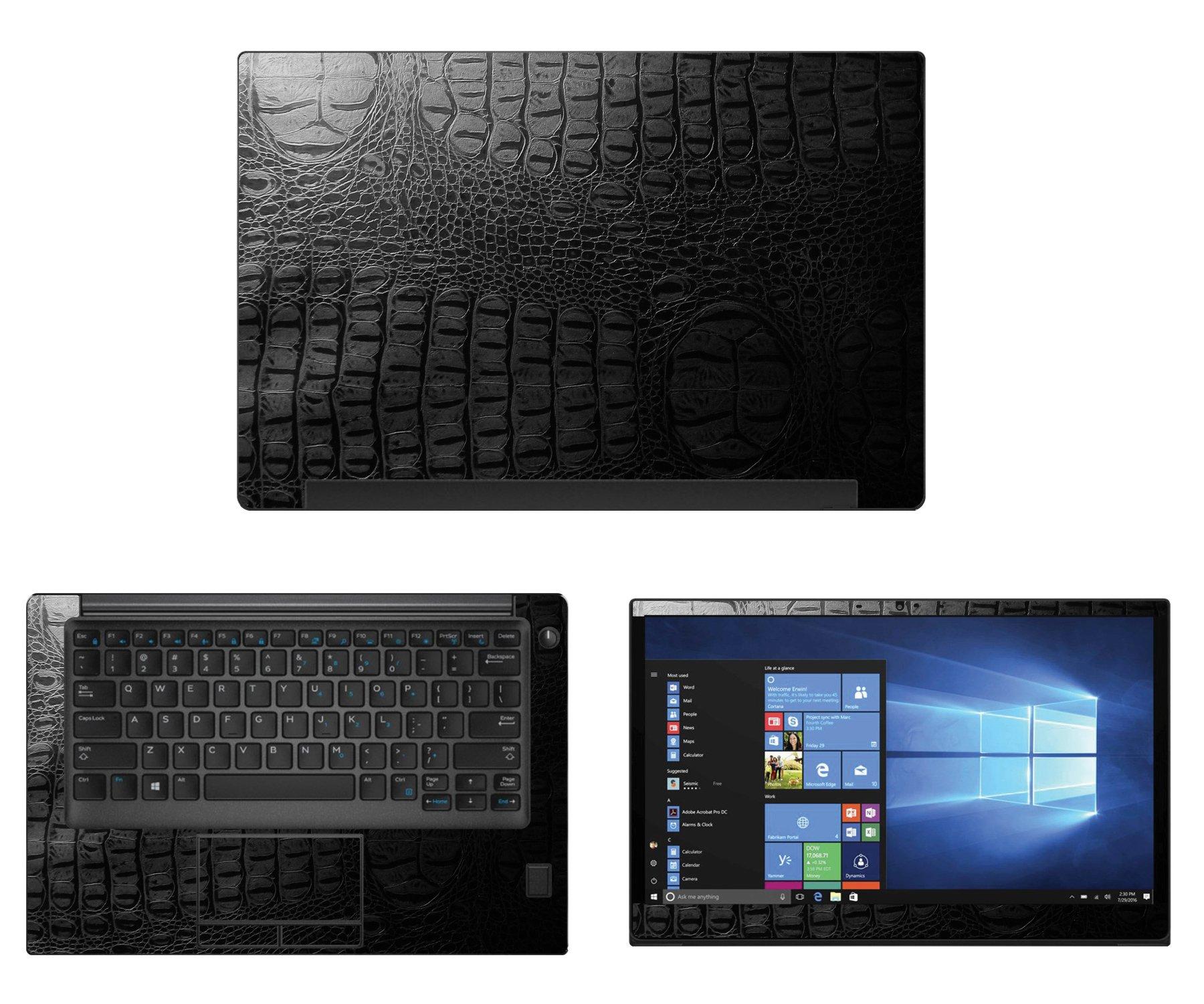 Decalrus - Protective decal for Dell Latitude 7480 (14'' Screen) Laptop Crocodile skin pattern Texture skin case cover wrap CROdellLatitude7480Black