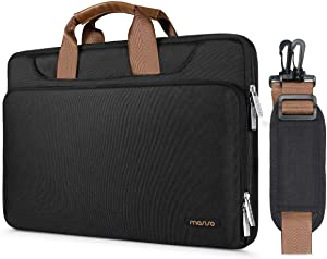 MOSISO 360 Protective Laptop Shoulder Bag Compatible with 13-13.3 inch MacBook Air, MacBook Pro, 13.5 Surface Laptop 3/2/1, Surface Book 2/1, Briefcase Sleeve with Back Trolley Belt, Black