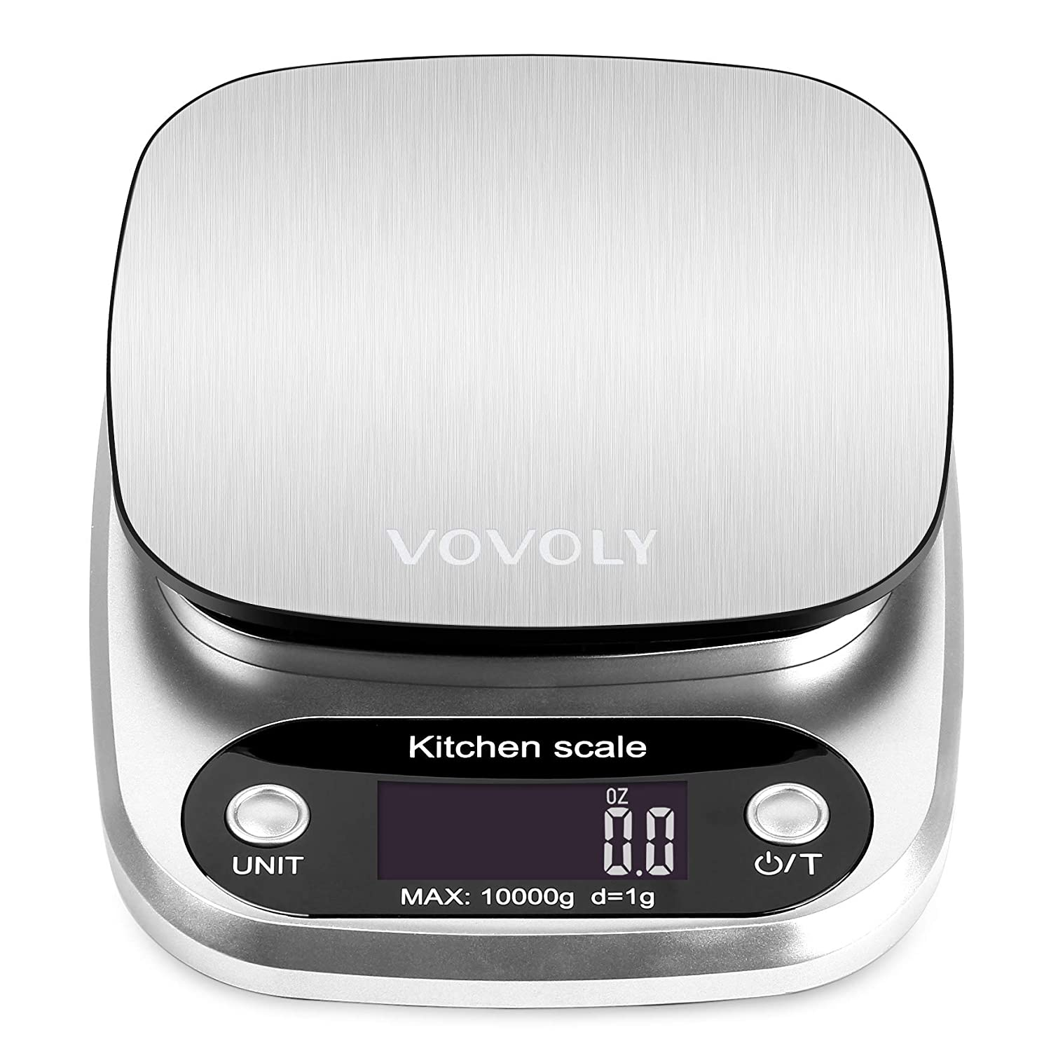 Vovoly Digital Food Scale Kitchen Scale, Food Scales Digital Weight Grams and OZ, 22lb/10kg and 1g/0.1oz Scale for Food , Food Weight Scale for Baking ,Cooking with Stainless Steel Platform (Silver)
