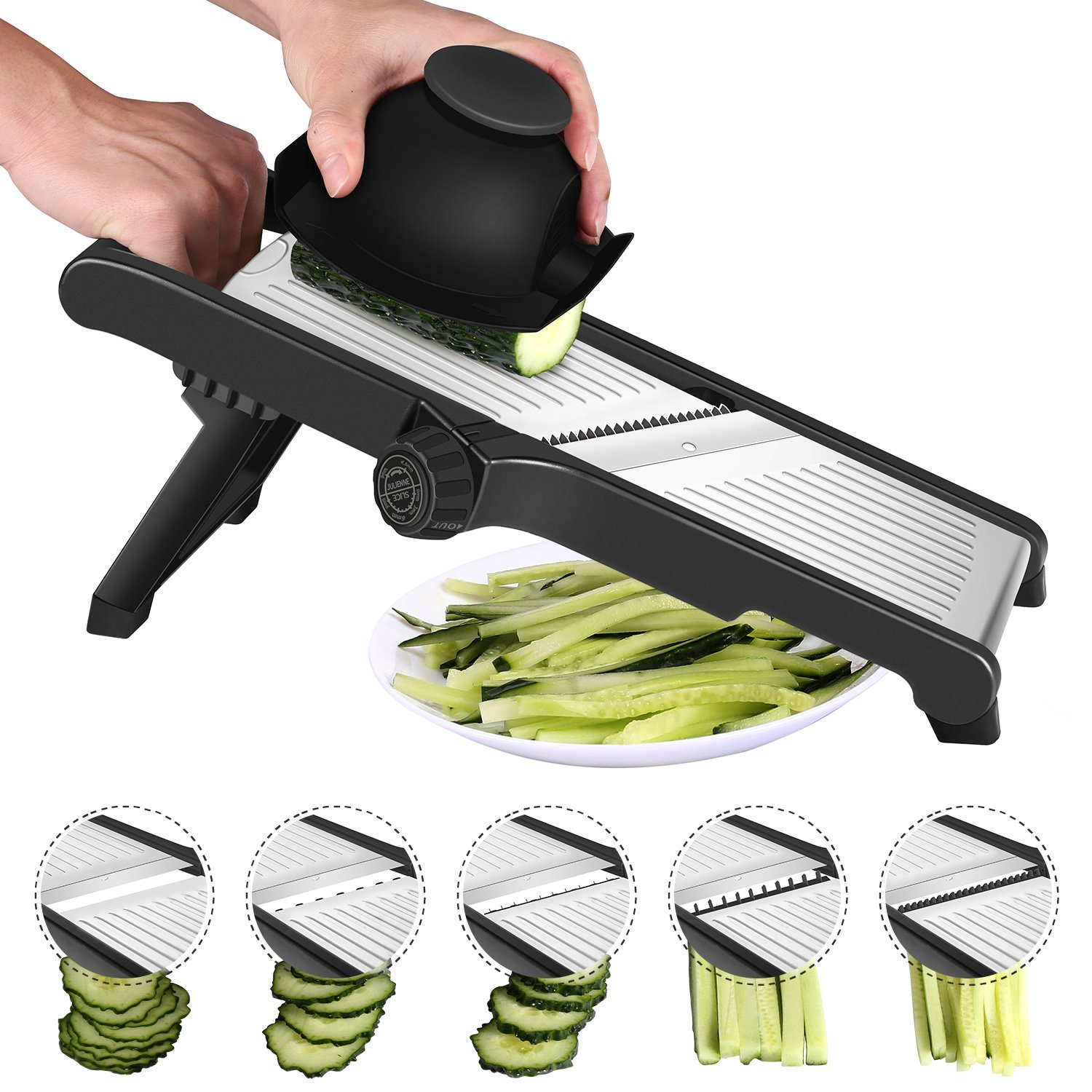 CaCaCook Stainless Steel Mandoline Slicer Adjustable Kitchen Food Mandolin Vegetable Julienne Slicer For Fruits And Vegetables From Paper-Thin To 6mm With 6 Stainless Steel Blades By Cacook - Black by CaCaCook