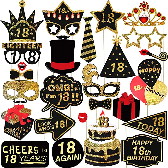 Happy Birthday Props for 18th Birthday Party Photo Booth Props LUOEM Glitter 18 Birthday Party Accessories Supplies for Photo Booth Parties, Pack of 29