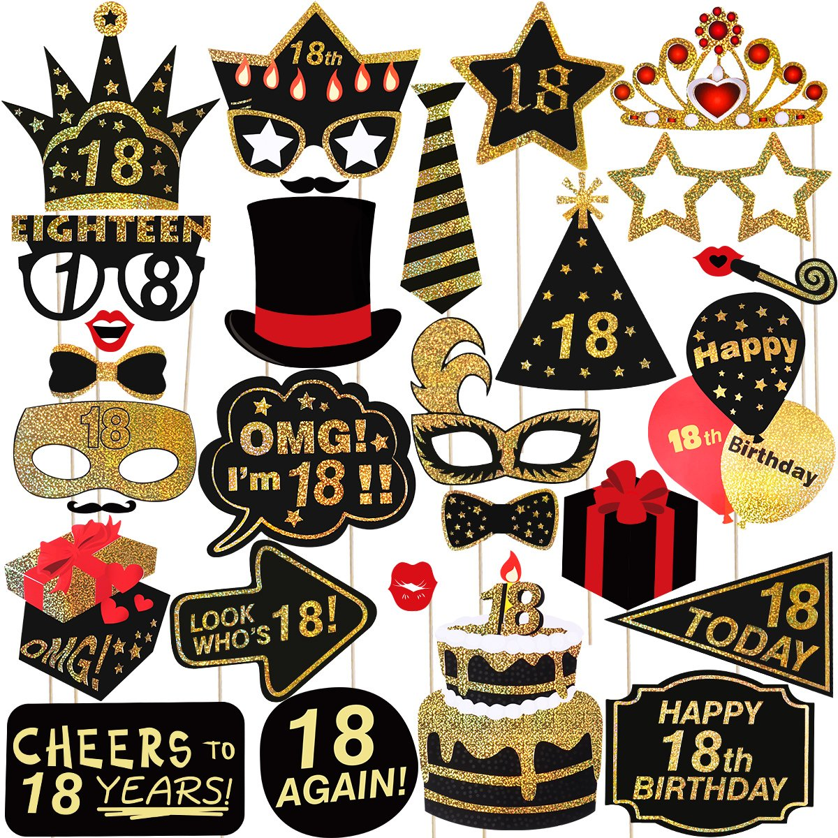 Happy Birthday Props For 18th Party Photo Booth LUOEM Glitter 18 Accessories Supplies Parties Pack Of 29