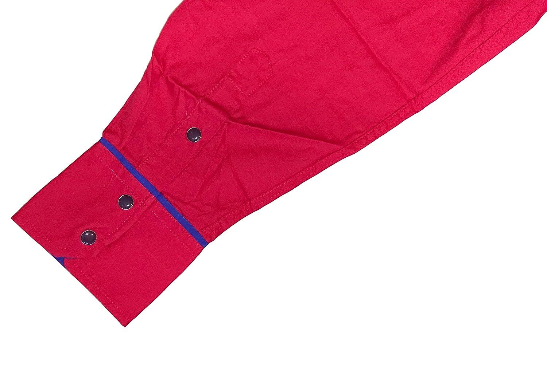Cowboy Shirt Long Sleeve El General Red, Camisa Vaquera Bordada at Amazon Mens Clothing store: