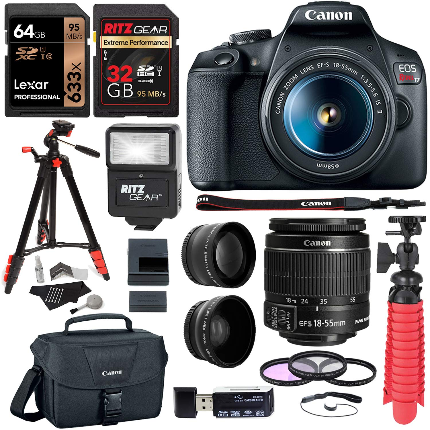 Canon EOS Rebel T7 24MP Camera with EF-S 18-55mm is II Lens, 2 Memory Cards, Slave Flash, 57'' Tripod, Camera Bag, Cleaning Kit, Memory Card Reader/Writer Bundle