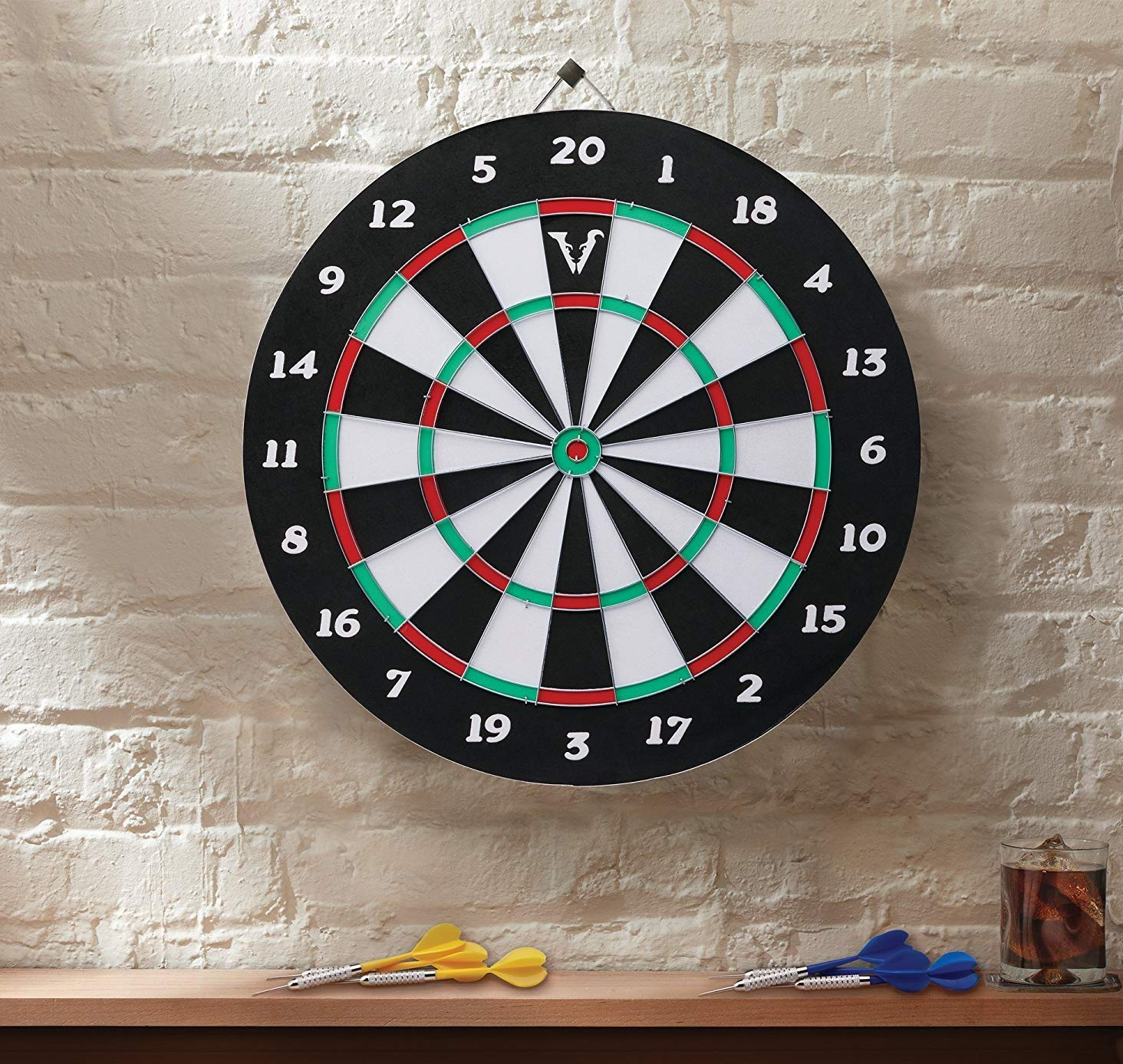 High-Grade Compressed Sisal Board with Rotating Number Ring Metal Radial Spider Wire Viper Shot King Regulation Bristle Steel Tip Dartboard Set with Staple-Free Bullseye Includes 6 Steel Tip Darts/…