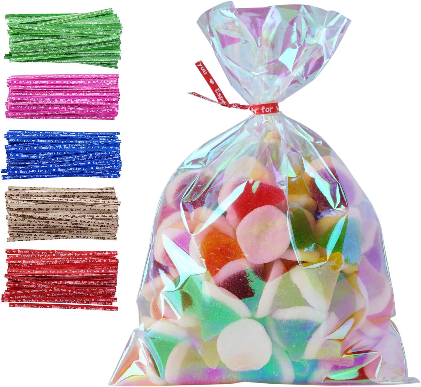 """100 Pack Iridescent Holographic Cellophane Party Favor Treat Bags with 5 Colors Twist Ties Good for Themed Celebrations Baby Showers Weddings Girls Birthday Party Supplies (5"""" x 7"""")"""
