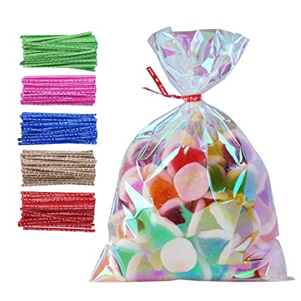2205923f6fe76 100 Pack Iridescent Holographic Cellophane Party Favor Treat Bags with 5  Colors Twist Ties Good for Themed Celebrations Baby Showers Weddings Girls  ...
