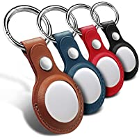 Protective Case for Airtags with Keychain, WIKDJ Genuine Leather Bluetooth Tracker Cover Bluetooth Finder Case for…