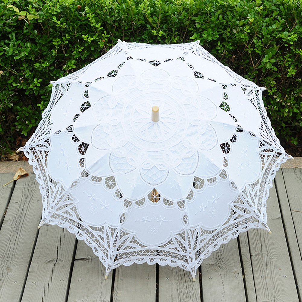 TBNA Bridal Lace Umbrellas Wedding Umbrella Bridal Parasol Umbrella for Bride Bridesmaid by TBNA Bridal (Image #3)