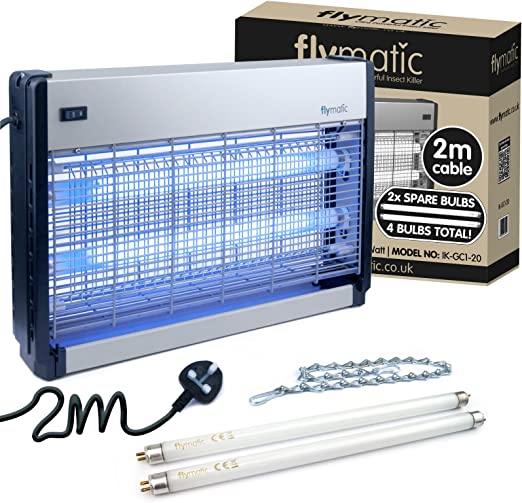 Insecticida Profesional electr/ónico Flymatic 20 W UV Muy eficaz 2 x 10 W Color Plateado