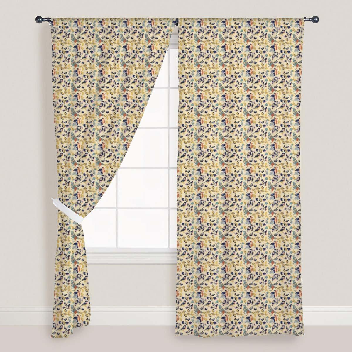 AZ Chirping Birds Door & Window Curtain Satin 4feet x 11feet; SET OF 2 PCS