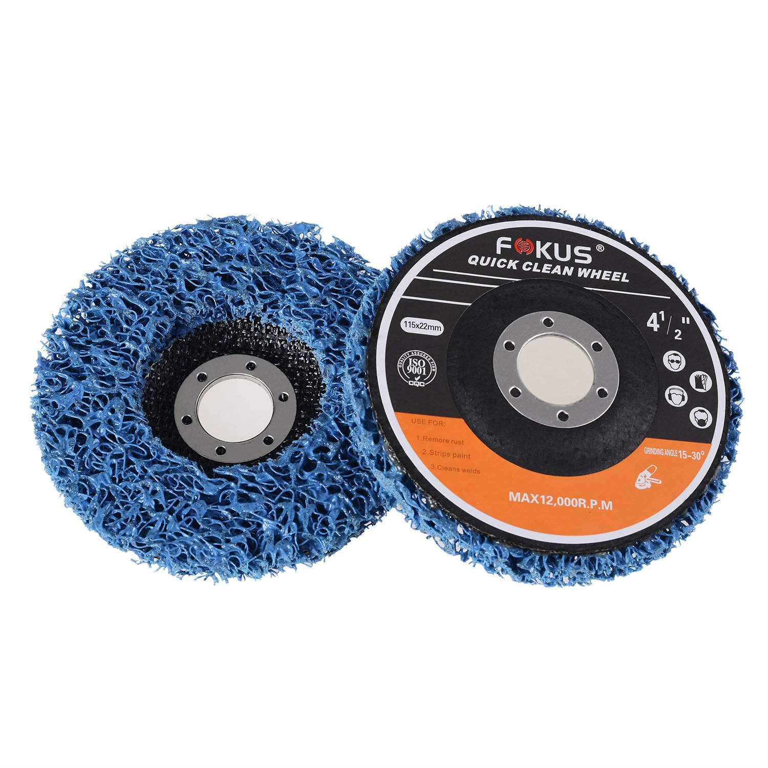 Fokus 5 Pack 4-1/2'' x 7/8'' Easy Strip Discs Quick Change Clean & Remove Paint and Rust Blue