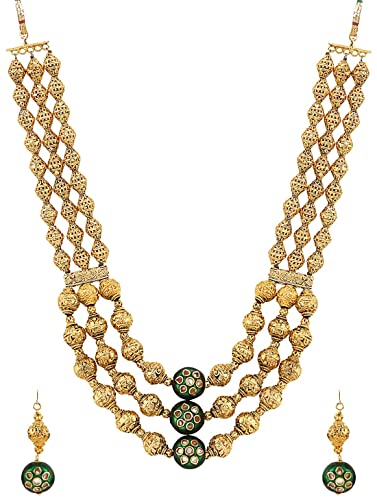 f8880cb388 Buy Sri Shringarr Fashion Fancy Micro Gold Polished Semi Precious Kundan & Golden  Beads Necklace Set K1298ON Online at Low Prices in India | Amazon ...