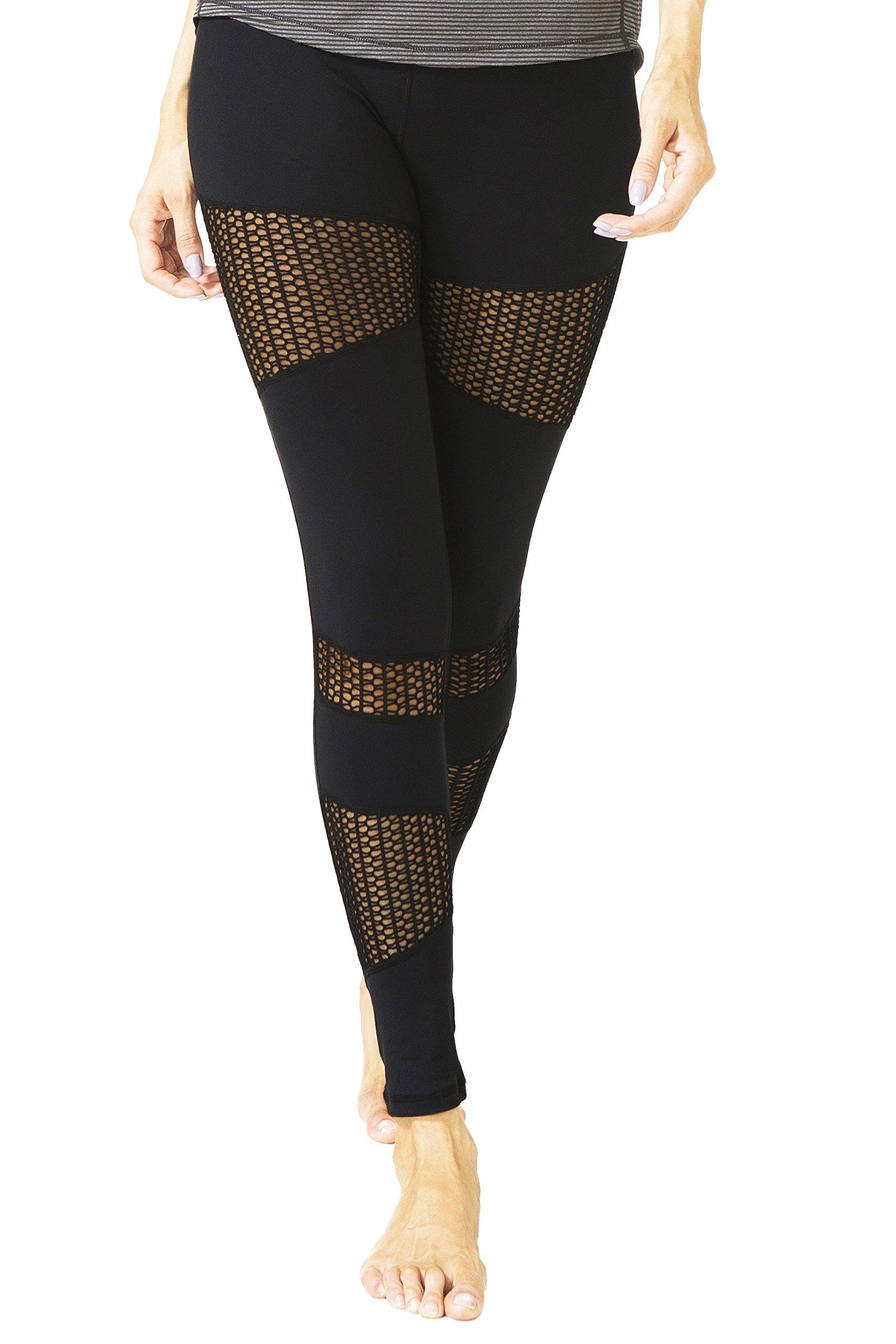 Queenie Ke Women Power Tech Mesh High Waist Pocket Gym Yoga Leggings Running Pants Workout Tights Size M Color Black Big Mesh