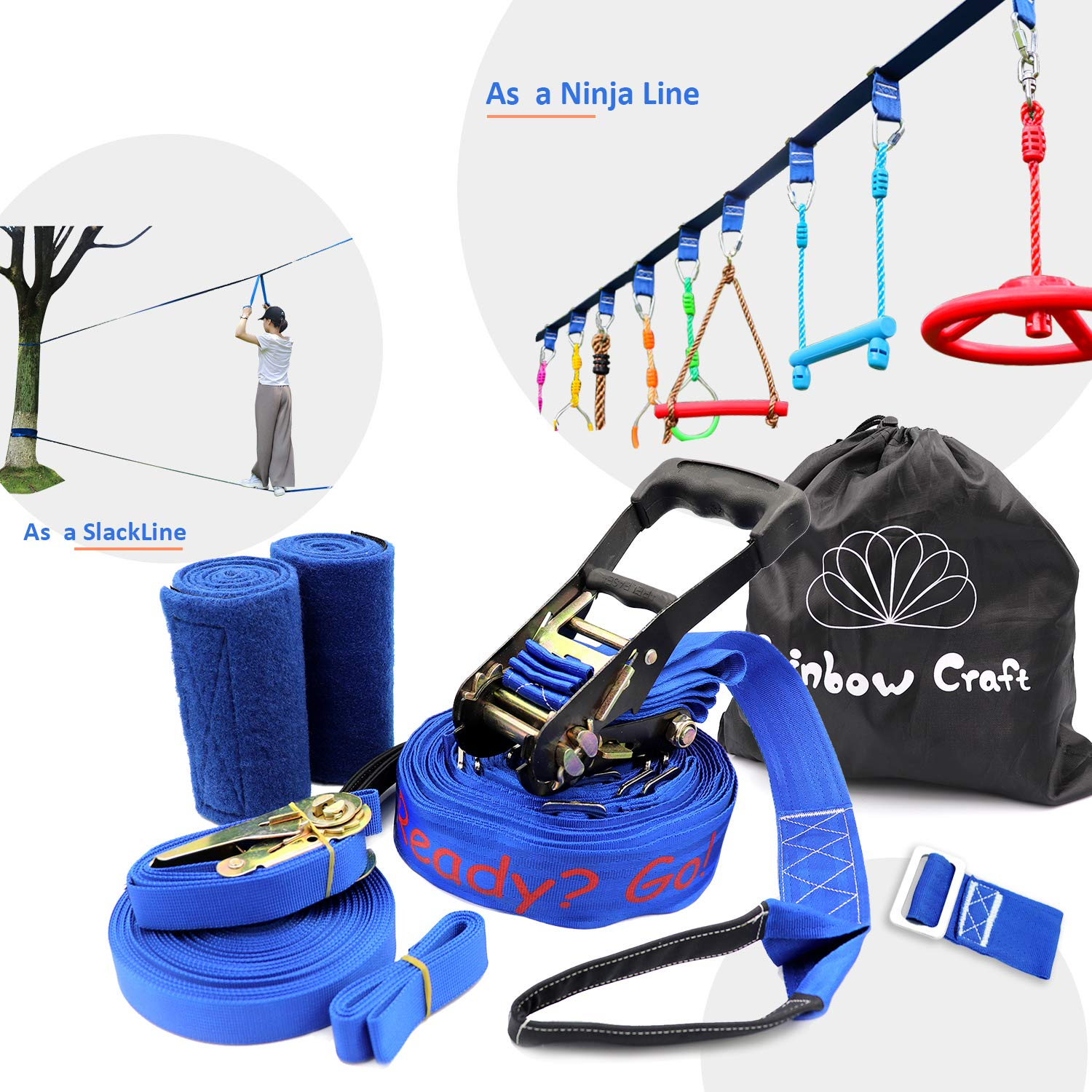Rainbow Craft Ninjaline Slackline for Obstacle Course Set, with Removable Loops for Kids Backyard Outdoor Play - Printing Ninja Line Type