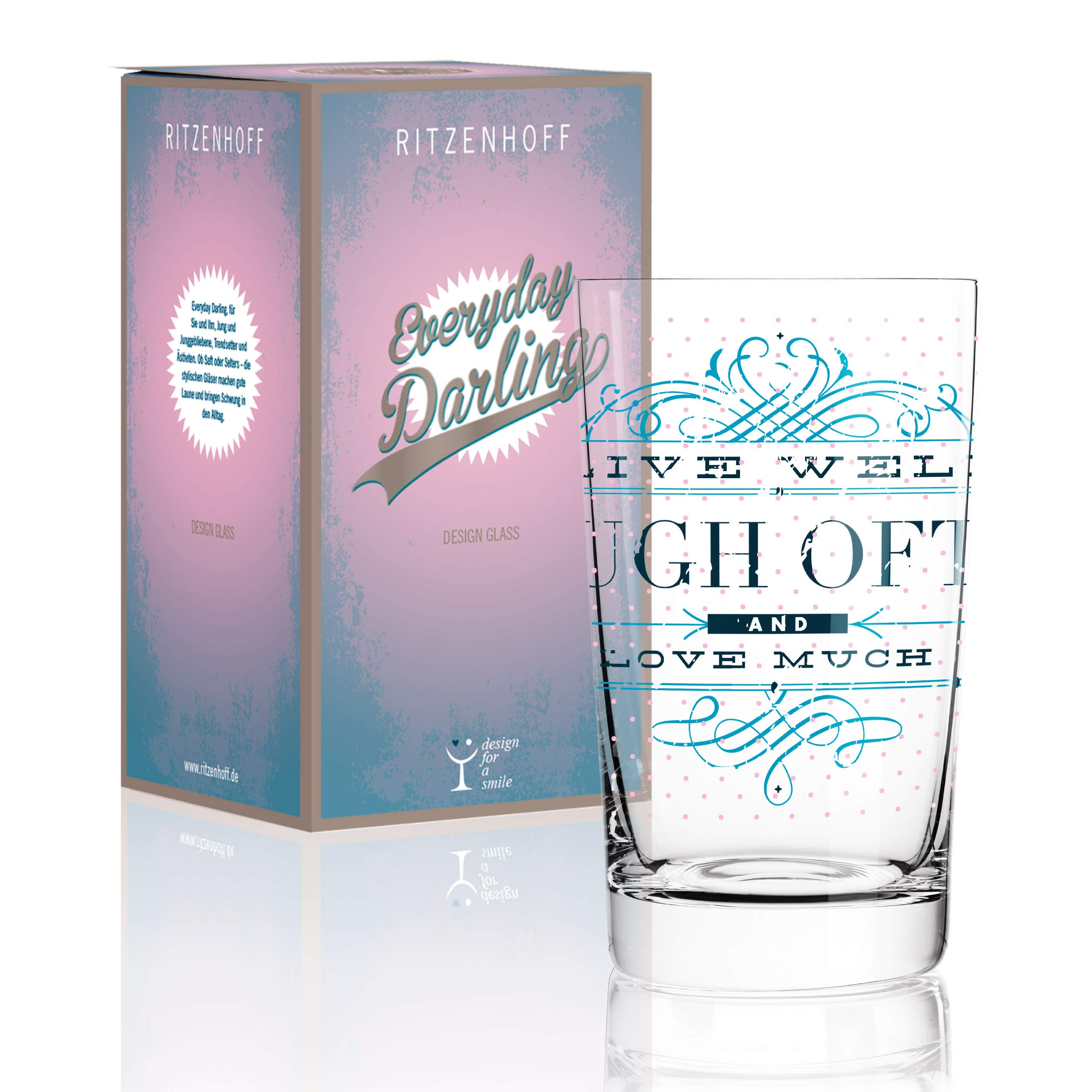 RITZENHOFF 0.3 Litre''Burkhard Neie Laugh often'' Everyday Darling Soft Drink Glass